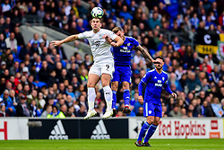 Sam Vokes of Burnley contends for the aerial ball with Joe Ralls of Cardiff City - Mandatory by-line: Ryan Hiscott/JMP - 30/09/2018 -  FOOTBALL - Cardiff City Stadium - Cardiff, Wales -  Cardiff City v Burnley - Premier League