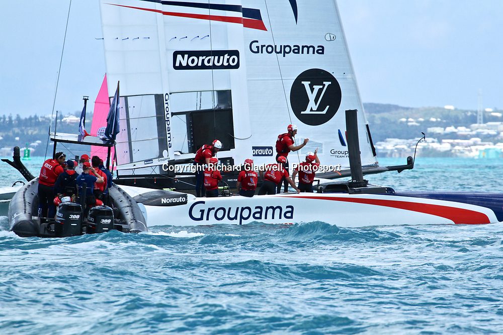 Race 7 - High Fives on Groupama Team France after their Race 7 win  - 35th America's Cup - Bermuda  May 28, 2017 . Copyright Image: Richard Gladwell / Sail World / www.photosport.nz