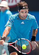 Fernando Gonzalez (CHI) [11]<br /> 2010 Australian Open Tennis<br /> Mens Singles<br /> First Round<br /> 18/01/10<br /> Fernando Gonzalez of CHillie plays a backhand<br /> &quot;Show Court 2&quot; Melbourne Park, Melbourne, Victoria, Australia<br /> Photo By Lucas Wroe