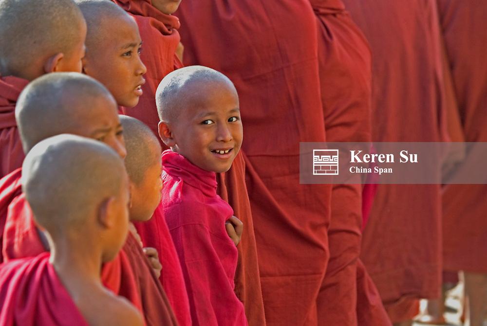 Monks gather together at Ananda Pagoda Festival, Bagan, Myanmar