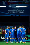 Lublin, Poland - 2017 June 16: Slovakia's team celebrate after scoring while Poland v Slovakia match during 2017 UEFA European Under-21 Championship at Lublin Arena on June 16, 2017 in Lublin, Poland.<br /> <br /> Mandatory credit:<br /> Photo by © Adam Nurkiewicz / Mediasport<br /> <br /> Adam Nurkiewicz declares that he has no rights to the image of people at the photographs of his authorship.<br /> <br /> Picture also available in RAW (NEF) or TIFF format on special request.<br /> <br /> Any editorial, commercial or promotional use requires written permission from the author of image.