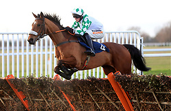 Spectaculis ridden by jockey Jack Quinlan competes in the Weatherbys Chatteris Fen Juvenile Hurdle
