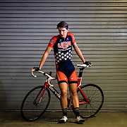 Gavin Hoover poses for a portrait after practice at the Velo Sports Center in Carson, CA USA on November third, 2016.