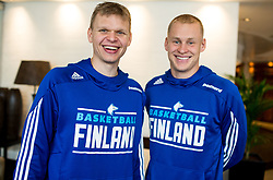 Teemu Rannikko and Sasu Salin of Finnish National Basketball team ahead of the FIBA EuroBasket 2017 in Crowne Plaza Hotel, Helsinki, Finland on August 30, 2017. Photo by Vid Ponikvar / Sportida