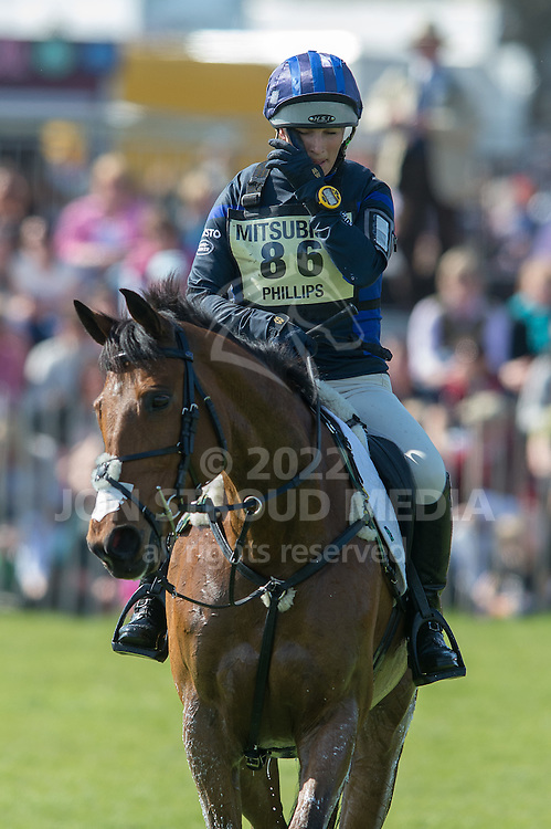 A dejected Zara Phillips (GBR) & High Kingdom retire during the cross country phase of the Mitsubishi Motors Badminton Horse Trials - CCI4* - Badminton, Gloucestershire, United Kingdom - 05 May 2013