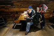 Homeless veteran Kenneth Bailey, who's street name is Wulf, eats a sandwich at the Bistro Market on Wednesday, Jan. 6, 2016 in downtown Springfield. The large sandwich was enough to share with his fiend and have leftovers for the next day.