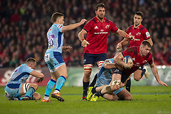January 19, 2019 - Limerick, Ireland - Chris Farrell of Munster in action with the ball during the Heineken Champions Cup match between Munster Rugby and Exeter Chiefs at Thomond Park in Limerick, Ireland on January 19, 2019  (Credit Image: © Andrew Surma/NurPhoto via ZUMA Press)