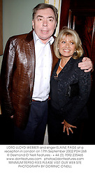 LORD LLOYD-WEBBER and singer ELAINE PAGE at a reception in London on 17th September 2002.PDH 268