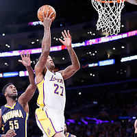 04 January 2014: Los Angeles Lakers center Jordan Hill (27) goes for the layup past Indiana Pacers center Roy Hibbert (55) during the Los Angeles Lakers 88-87 victory over the Indiana Pacers, at the Staples Center, Los Angeles, California, USA.