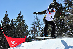 Snowboarder Cross Action, BUNSCHOTEN Lisa, NED at the 2016 IPC Snowboard Europa Cup Finals and World Cup