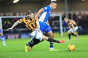Rhys Bennett, Michael O'Connor during the Sky Bet League 1 match between Rochdale and Port Vale at Spotland, Rochdale, England on 28 November 2015. Photo by Daniel Youngs.