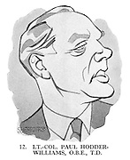 These Looks Speak Volumes 12. LT.-Col. Paul Hodder-Williams, OBE, TD. (a 1950s cartoon from Punch magazine showing a portrait of Hodder & Stoughton publisher Paul Hodder-Williams)