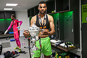 Forest Green Rovers Curtis Tilt(2) with the trophy during the Vanarama National League Play Off Final match between Tranmere Rovers and Forest Green Rovers at Wembley Stadium, London, England on 14 May 2017. Photo by Shane Healey.