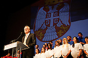 Tomislav Nikolic giving the closing address at the Serbian Progressive Party (SNS) congress at Sava Center in Belgrade, Serbia. May 15, 2012...Matt Lutton for The Wall Street Journal.BELGRADE