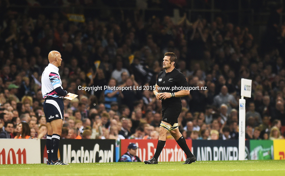 Richie McCaw walks off during the New Zealand All Blacks v Georgia Rugby World Cup 2015 match. Millennium Stadium in Cardiff, Wales, UK. Friday 2 October 2015. Copyright Photo: Andrew Cornaga / www.Photosport.nz