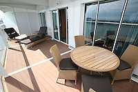 The launch of Royal Caribbean International's Oasis of the Seas, the worlds largest cruise ship..Staterooms,.Royal Suite balcony