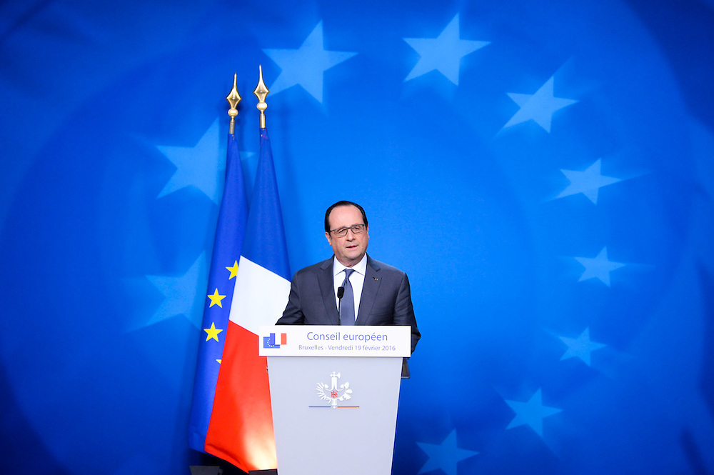 Brussels 19 February 2016<br /> <br /> Meeting of Heads of State or Government of the European Union at the EU headquarters in Brussels to discuss on two main issues : the United Kingdom ' s plans for an (in/out) referendum ( Brexit ) and on the migration and refugee crisis<br /> <br /> Pix Francois Hollande<br /> <br /> Credit Melanie Wenger / Isopix