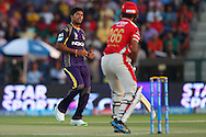 Umesh Yadav of the Kolkata Knight Riders during match 15 of the Pepsi Indian Premier League 2014 Season between The Kings XI Punjab and the Kolkata Knight Riders held at the Sheikh Zayed Stadium, Abu Dhabi, United Arab Emirates on the 26th April 2014<br /> <br /> Photo by Ron Gaunt / IPL / SPORTZPICS