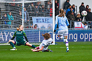 Manchester City Women goalkeeper Ellie Roebuck (26) saves West Ham United Women forward Leanne Kiernan (8) shot on goal during the FA Women's Super League match between Manchester City Women and West Ham United Women at the Sport City Academy Stadium, Manchester, United Kingdom on 17 November 2019.