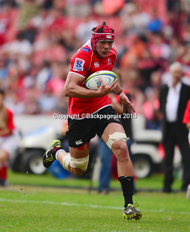 Warren Whiteley of the Lions during the Super Rugby match between the Lions and the Blues at Ellis Park in Johannesburg, South Africa on March 15, 2014 ©Barry Aldworth/BackpagePix