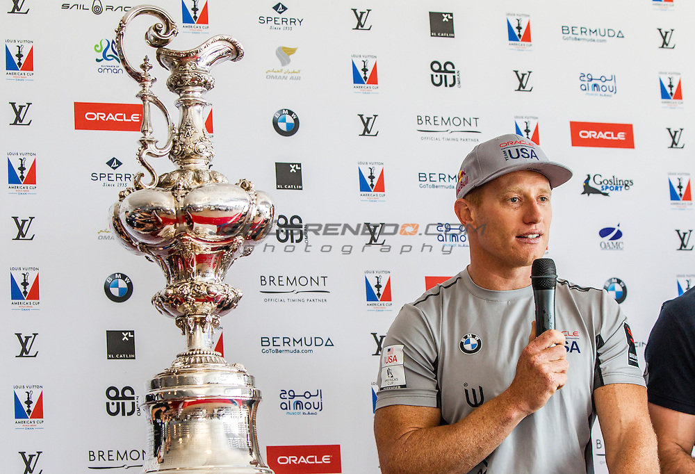 America's Cup arrives in Muscat.Official opening press  conference.ORACLE TEAM USA Skipper and Helmsman - Jimmy Spithill.Louis Vuitton America's Cup World Series Oman 2016. Muscat ,The Sultanate of Oman.Image licensed to Jesus Renedo/Lloyd images/Oman Sail