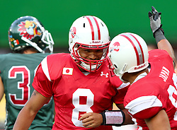 15.07.2011, Ernst Happel Stadion, Wien, AUT, American Football WM 2011, Japan (JAP) vs Mexico (MEX), im Bild Ken Shimizu (Japan, #83, WR) congratulates Tetsuo Takata (Japan, #8, QB) to his touchdown // during the American Football World Championship 2011 game, Japan vs Mexico, at Ernst Happel Stadion, Wien, 2011-07-15, EXPA Pictures © 2011, PhotoCredit: EXPA/ T. Haumer