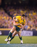 Israel Folau (Wallabies) in action during the second test between the DHL Australian Wallabies vs HSBC British And Irish Lions at Etihad Stadium, Melbourne, Victoria, Australia. 29/06/0213. Photo By Lucas Wroe