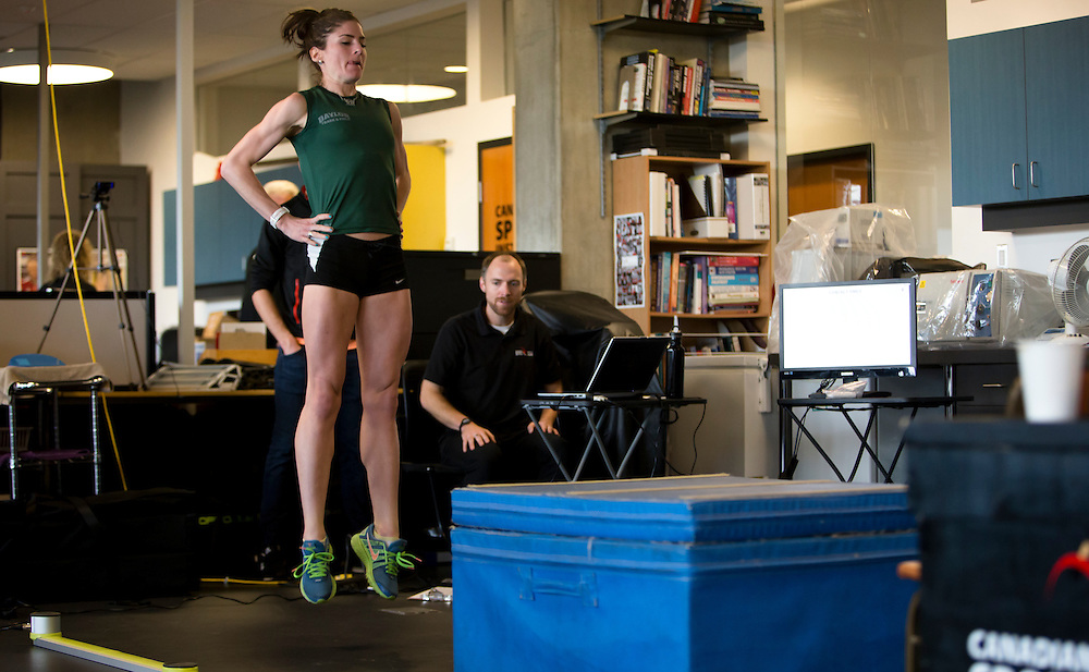 Mariah Kelly's reactive strength index is tested with a drop jump to measure neuromuscular explosiveness and tendon stiffness at the Pacific Institute for Sport Excellence on December 3rd, 2015 in Victoria, British Columbia Canada.