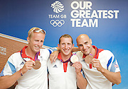 Canoe Sprint<br /> Team GB Medalists<br /> Olympics London 2012 <br /> press conference<br /> at Team GB House, Stratford, London, Great Britain <br /> 11th August 2012 <br /> <br /> <br /> Jonathan Schofield - Bronze<br /> Edward McKeever - won GOLD medal <br /> Liam Heath - Bronze<br /> <br /> in Canoe Sprint Men's<br /> <br /> <br /> Photograph by Elliott Franks