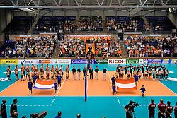 12-06-2011 VOLLEYBAL: EUROPEAN LEAGUE NETHERLANDS - AUSTRIA: ROTTERDAM<br /> Netherlands and Austria listen to the National anthem<br /> &copy;2011-FotoHoogendoorn.nl
