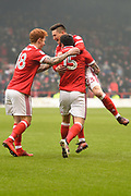 Nottingham Forest forward Joe Lolley (23) celebrates after scoring a goal to make it 1-0 during the EFL Sky Bet Championship match between Nottingham Forest and Birmingham City at the City Ground, Nottingham, England on 3 March 2018. Picture by Jon Hobley.