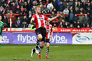 Jayden Stockley (11) of Exeter City controls the ball during the EFL Sky Bet League 2 match between Exeter City and Swindon Town at St James' Park, Exeter, England on 24 March 2018. Picture by Graham Hunt.