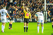 Referee Mike Adamson gives a penalty to Glasgow Warriors during the 1872 Cup second leg Guinness Pro14 2019_20 match between Edinburgh Rugby and Glasgow Warriors at BT Murrayfield Stadium, Edinburgh, Scotland on 28 December 2019.