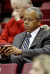06 December 2006: Illinois State University President Dr. Al Bowman attends most athletic events on campus and keeps in touch with his Blackberry. In a non-conference game, the Cardinals of Ball State visited the Redbirds home at Redbird Arena in Normal Illinois on the campus of Illinois State University.<br />
