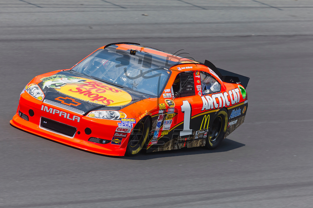 CONCORD, NC - MAY 26, 2012:  Jamie McMurray (1) brings his Bass Pro Shops Chevrolet on the track for a practice session for the Coca-Cola 600 at the Charlotte Motor Speedway in Concord, NC.