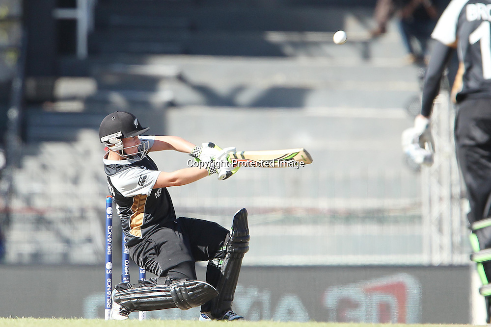 Katey Martin of New Zealand attacks a delivery from Anya Shrubsole of England  during the ICC Women's World Twenty20 Semi final match between England and New Zealand held at the Premadasa Stadium in Colombo, Sri Lanka on the 4th October  2012<br /> <br /> Photo by Ron Gaunt/SPORTZPICS/PHOTOSPORT