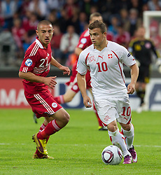 AALBORG, DENMARK - Saturday, June 11, 2011: Switzerland's Xherdan Shaqiri (FC Basel 1893) in action against Denmark during the UEFA Under-21 Championship Denmark 2011 Group A match at the Aalborg Stadion. (Photo by Vegard Grott/Propaganda)