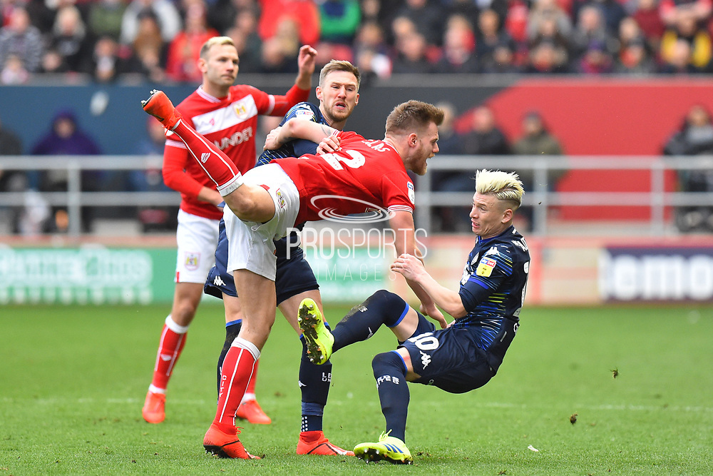 Tomas Kalas (22) of Bristol City and Ezgjan Alioski (10) of Leeds United clash during the EFL Sky Bet Championship match between Bristol City and Leeds United at Ashton Gate, Bristol, England on 9 March 2019.