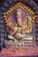 Religious ganesh shrine at Durbar Square, Kathmandu.