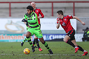 Forest Green Rovers Reuben Reid(26) runs forward during the EFL Sky Bet League 2 match between Morecambe and Forest Green Rovers at the Globe Arena, Morecambe, England on 17 February 2018. Picture by Shane Healey.
