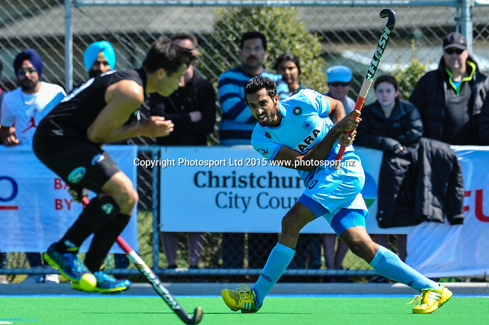 Dharamvir Singh of India in action during the Mens Hockey International, 2015 South Island Tour game between the New Zealand Black Sticks V India, at Marist Park, Christchurch, on the 11th October 2015. Copyright Photo: John Davidson / www.photosport.nz