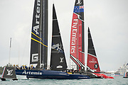 The Great Sound, Bermuda 12th June 2017. Emirates Team New Zealand and Artemis Racing start race seven of the Louis Vuitton America's Cup Challenger series. The race was abandoned after the wind stopped and race time limit was exceeded.