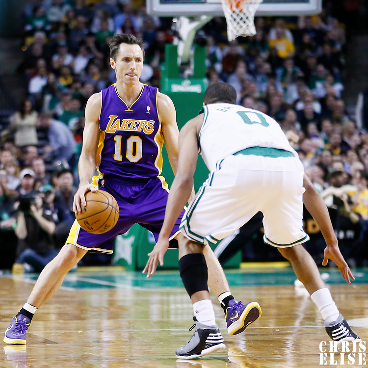 07 February 2013: Los Angeles Lakers point guard Steve Nash (10) dribbles during the Boston Celtics 116-95 victory over the Los Angeles Lakers at the TD Garden, Boston, Massachusetts, USA.