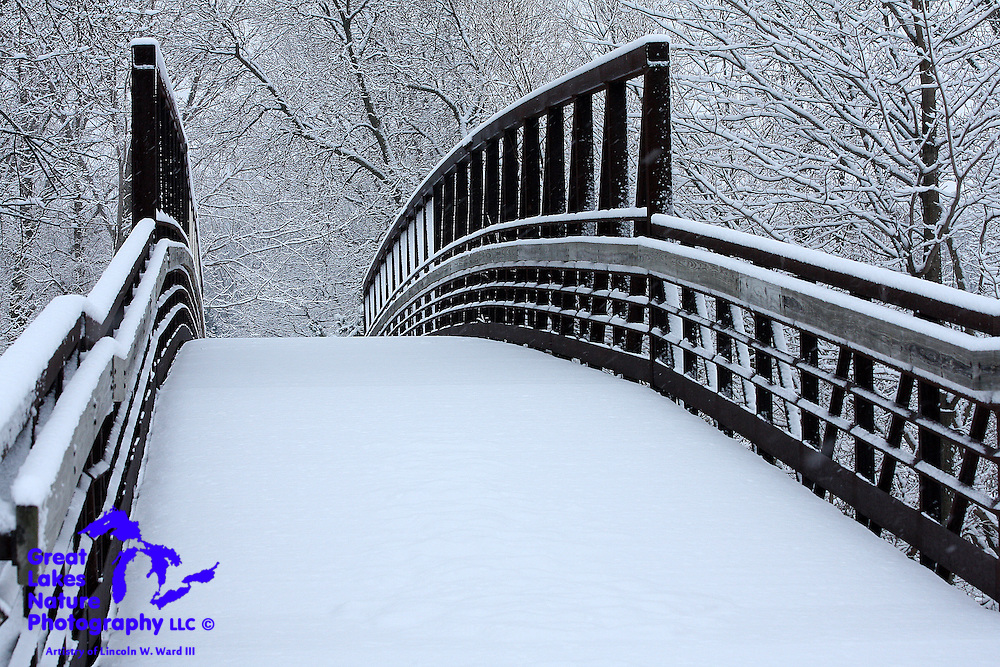 Heavy, wet snow fell on February 17 & 18, 2009, in Northeast Wisconsin, creating an almost magical white coating on all of Mother Nature's creations. The footbridge in this image exhibits the tremendous beauty that always coincides with a new snowfall.