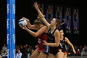 Magic goal keep Kelly Jury and Tactix goal shoot Ellie Bird clash during the ANZ Premiership netball match - Magic v 170529 ANZ Premiership - Magic v Tactix played at Claudelands Arena, Hamilton, New Zealand on Monday 29 May 2017. Copyright photo: Bruce Lim / www.photosport.nz