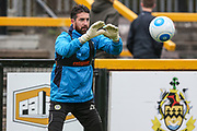 Forest Green Rovers goalkeeper Sam Russell(23) warming up during the Vanarama National League match between Southport and Forest Green Rovers at the Merseyrail Community Stadium, Southport, United Kingdom on 17 April 2017. Photo by Shane Healey.