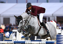 20.09.2014, Magna Racino, Ebreichsdorf, AUT, Vienna Masters 2014, Global Champions Tour Grand Prix, im Bild Ali Bin Khalid Al Thani auf Eurocommerce California (QAT) // during Vienna Masters 2014 Global Champions Tour Grand Prix at the Magna Racino, Ebreichsdorf, Austria on 2014/09/20. EXPA Pictures © 2014, PhotoCredit: EXPA/ Thomas Haumer