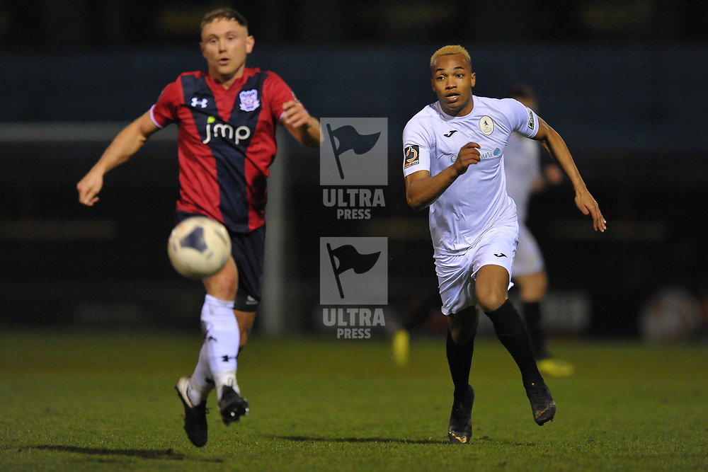 TELFORD COPYRIGHT MIKE SHERIDAN Marcus Dinanga of Telford during the Vanarama Conference North fixture between AFC Telford United and York City at Bootham Crescent on Saturday, January 11, 2020.<br /> <br /> Picture credit: Mike Sheridan/Ultrapress<br /> <br /> MS201920-040