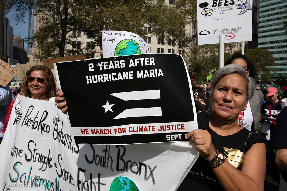 Activists bringing attention to victims of Hurricane Maria on the anniversary of the storm in New York City's Climate Strike inspired by Greta Thunberg who took part in the Climate Strike March in New York City on Sept. 20, 2019 with them.