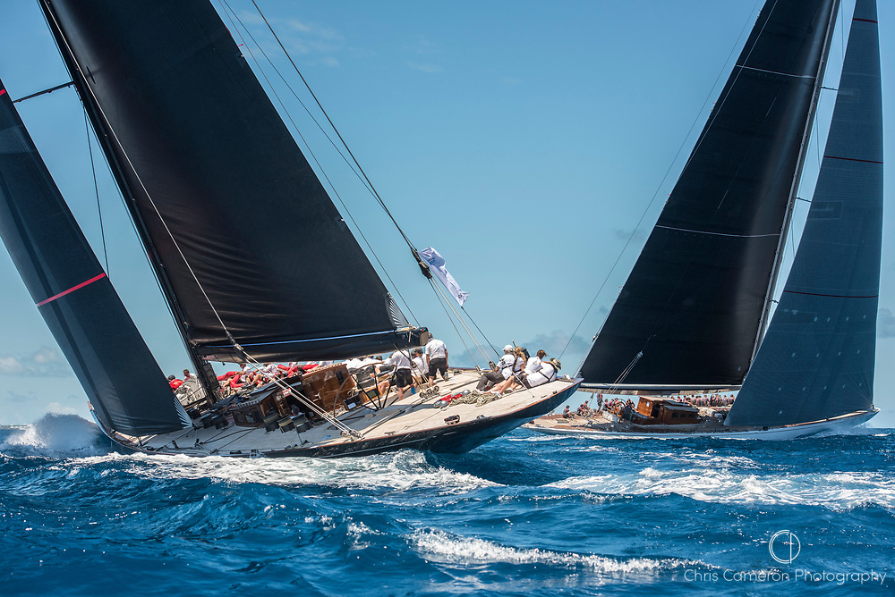 Bermuda, 14th June 2017. America's Cup Superyacht regatta. J Class race Two. Svea JS1 and Ranger J5